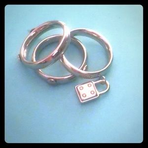 Jewelry - **SOLD**Set of 3 Rings w/ Lock Charm***SOLD**